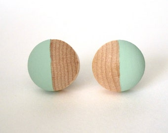 Mint green wood post button earrings, wood stud earrings, light green earrings, pastel earrings