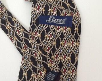 Vintage Necktie Men's Bass Italian Silk Necktie
