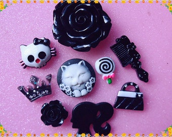 Mix Black Large flower & Cat  Decoden kit bling cabochons 9pcs