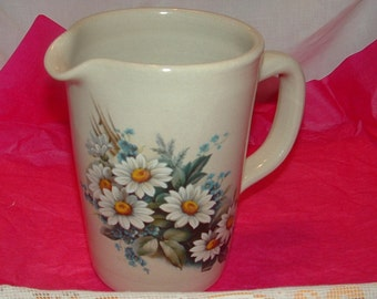 Shakers and Thangs Pottery Pitcher with White Daisies water pitcher , Milk pitcher