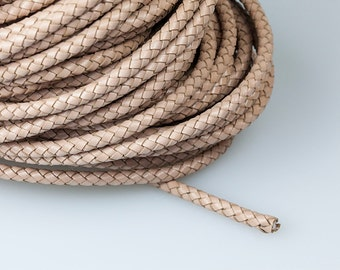5mm Braided Leather Cord, Apricot Round Leather Cord, Genuine Leather Cord, Pkg of 1 meter, D0FA.AP0D.L1M