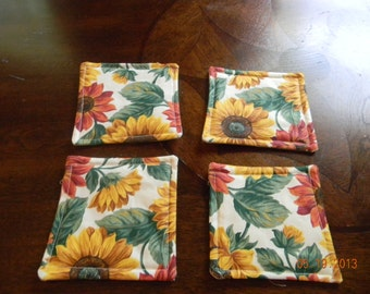 Fabric Coasters - sunflowers on cream background