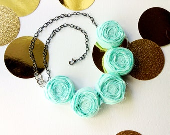 Aqua Rosette Necklace