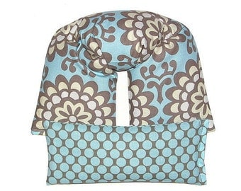 Aqua, Gray, Ivory Neck & Shoulder Wrap Eye Pillow Set your Choice of Scents Heating Pad Ice Pack Flaxseed REMOVABLE COVER (Wallflower Blue)