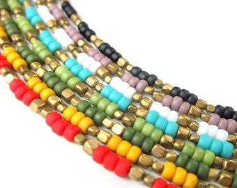 Dainty Bracelet Seed Bead Bracelet Boho Jewelry - Pick Your Color - Bohemian Jewelry Ethnic Jewelry Tribal Jewelry Simple Stackable Bracelet