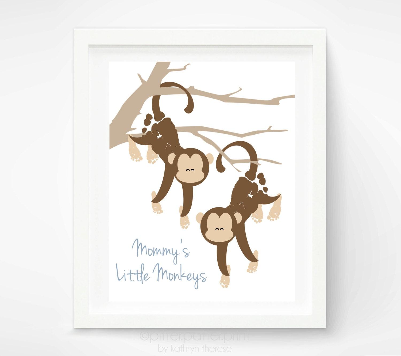 Footprints Wall Decor : Kids wall art baby footprint monkeys by pitterpatterprint