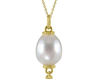 Oblong South Sea Cultured Pearl Drop Pendant Granulated 14K Yellow Gold (11mm)