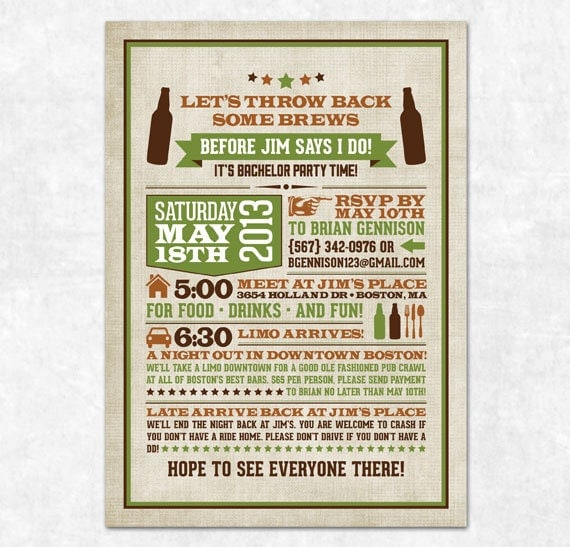 Items similar to Retro Bachelor Party Invitation Printable – Wording for Bachelor Party Invitations