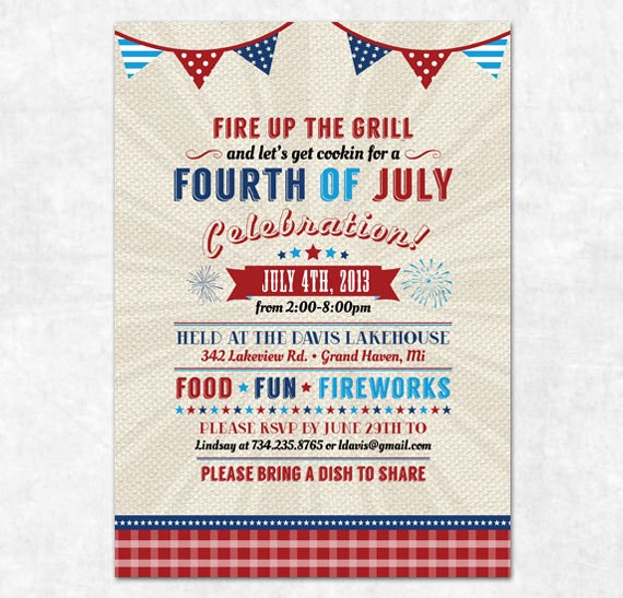 Items Similar To Printable 4th Of July Invitation