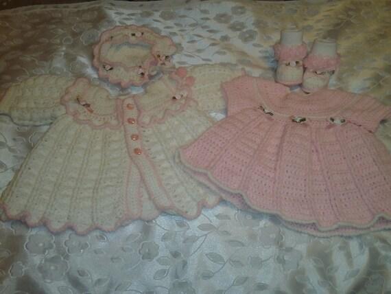 5 Piece Baby Girl Rosebud Sweater Set- Size 0-3 Months