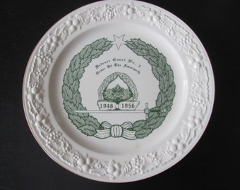 World Wide Art Studios Homer Laughlin EggShell Plate Detroit Court no 3 Order of the Amaranth 1946 - 1956