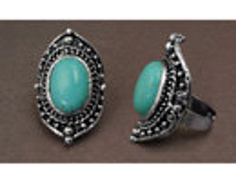Imitation Turquoise Ring, One size fits all, 40x25mm, Size: 7mm W, Beautiful Ring, looks like you spent a fortune.