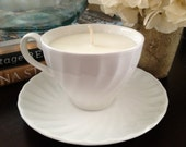 Candle in Johnson Brothers Regency White Collection Tea Cup