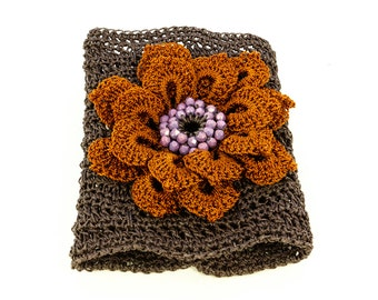 Crochet Cuff Bracelet, Crochet Flower, Boho Chic Cuff Bracelet, Brown Thread Crochet