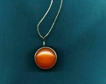 Vintage Amber lens pendant