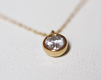 Cubic Zirconia Necklace, Solitaire Diamond Necklace, Diamond Necklace Gold, CZ Diamond Necklace, Gold Filled Necklace, Solid Gold Necklace
