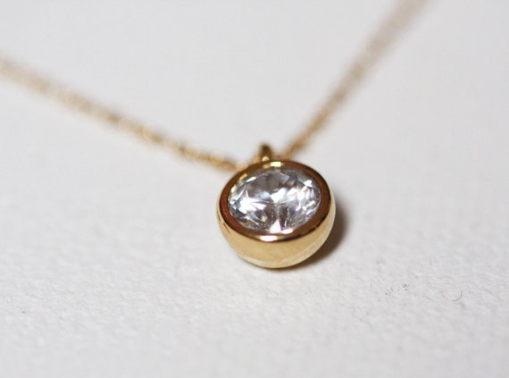 Solitaire necklace Gold-Bezel set solitaire CZ necklace, Simple Everyday Jewelry