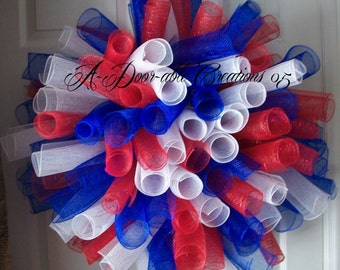 Large Patriotic..Red White and Blue Spiral Deco Mesh Wreath