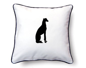Greyhound Pillow 18x18 - Greyhound Silhouette Pillow - Personalized Name or Text Optional