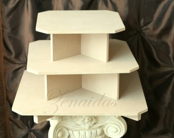 Cupcake Stand 3 Tier Square 20 Cupcakes MDF Wood Cupcake Tower Birthday Stand Display Stand DIY Project