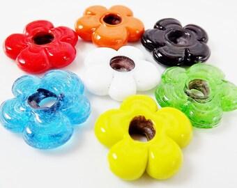 Mixed Pack 7 Chunky Flower Artisan Handmade Beads -  No:1 - 13mm - BE150