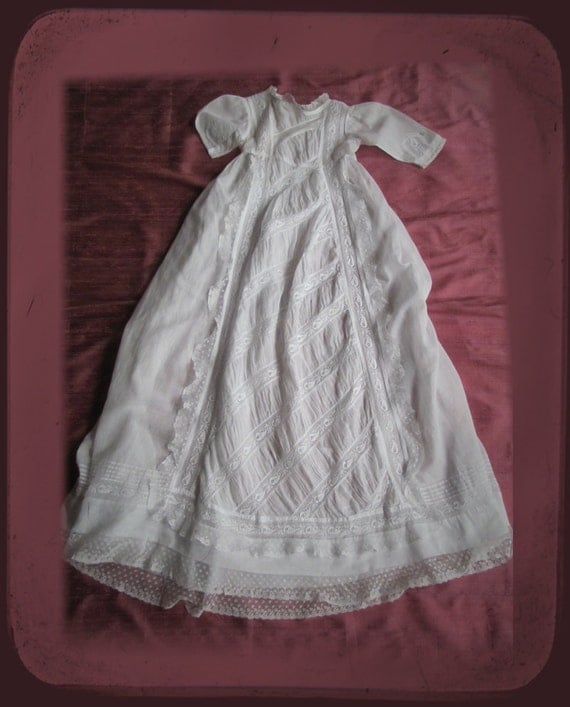 Fabulous Antique French Christening Gown Embroidered Lace