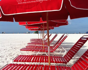 Beach Umbrella Crush Reds - Graphic Nautical Bright Color Seaside Red Lounge Deck Chairs Wall Art Photography Beach House Coastal Cottage