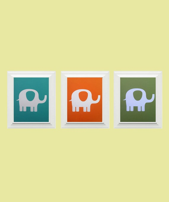 Set of 3-Custom Personalized Elephant/Animal Picture, Children's Wall Art, Nursery Wall Art, Elephant Wall Art-Orange, Teal, Light Green