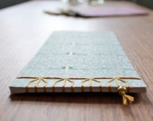 NOTEBOOK, japanese stab binding, mint green, gold,  europeanstreetteam, metal bead, sosteam, salesteam