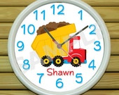 Personalized Wall Clock Dump Truck Construction Personalized Decor Personalize with your Photo, Logo or Art