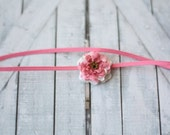 Newborn, tiny dusty pink and cream rose headband, photographer prop