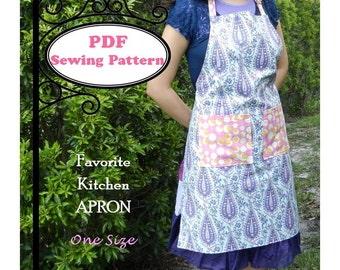 Favorite Kitchen Apron -- PDF Sewing Pattern  -- One Size