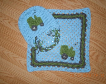Tractor Hat With Matching Lovey