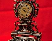 New OLD STOCK - Vintage Mantel - Table Clock - Brass Cast  Base - German PETER Winding Mechanism