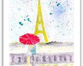 ORIGINAL  PARIS  Watercolor  Abstract  Painting Contemporary  ART  Modern Eiffel Tower Cityscape Rain by Tanja Bell