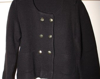 HALF PRICE Black Double Breasted Cardigan with Gold Buttons