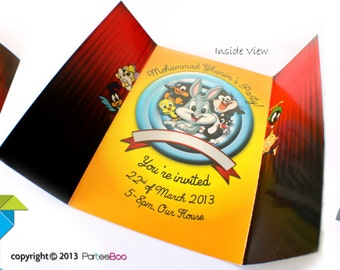 Customized Party Invitation Cards (Baby Looney Tunes Theme) x 10 pcs