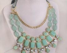 Seafoam Mint Green Statement Necklace - Bib Necklace - Mint Bib Bubble Crystal Necklace