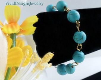 Turquoise Statement Bracelet Beaded Turquoise Statement Bracelet - Statement Bracelet