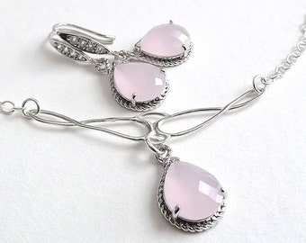 Sterling Silver Necklace and Earring Set - Cloudy Pink Glass Teardrop Glass Pendants