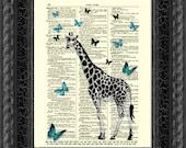 Giraffe Dictionary Art Print, Giraffe and Butterflies Print, Wall Decor, Art Print, Antique Dictionary Page Art, Home Decor