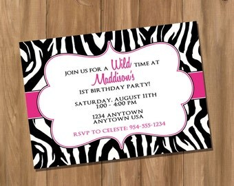 Pink Zebra Birthday Party Invitation (Digital - DIY)