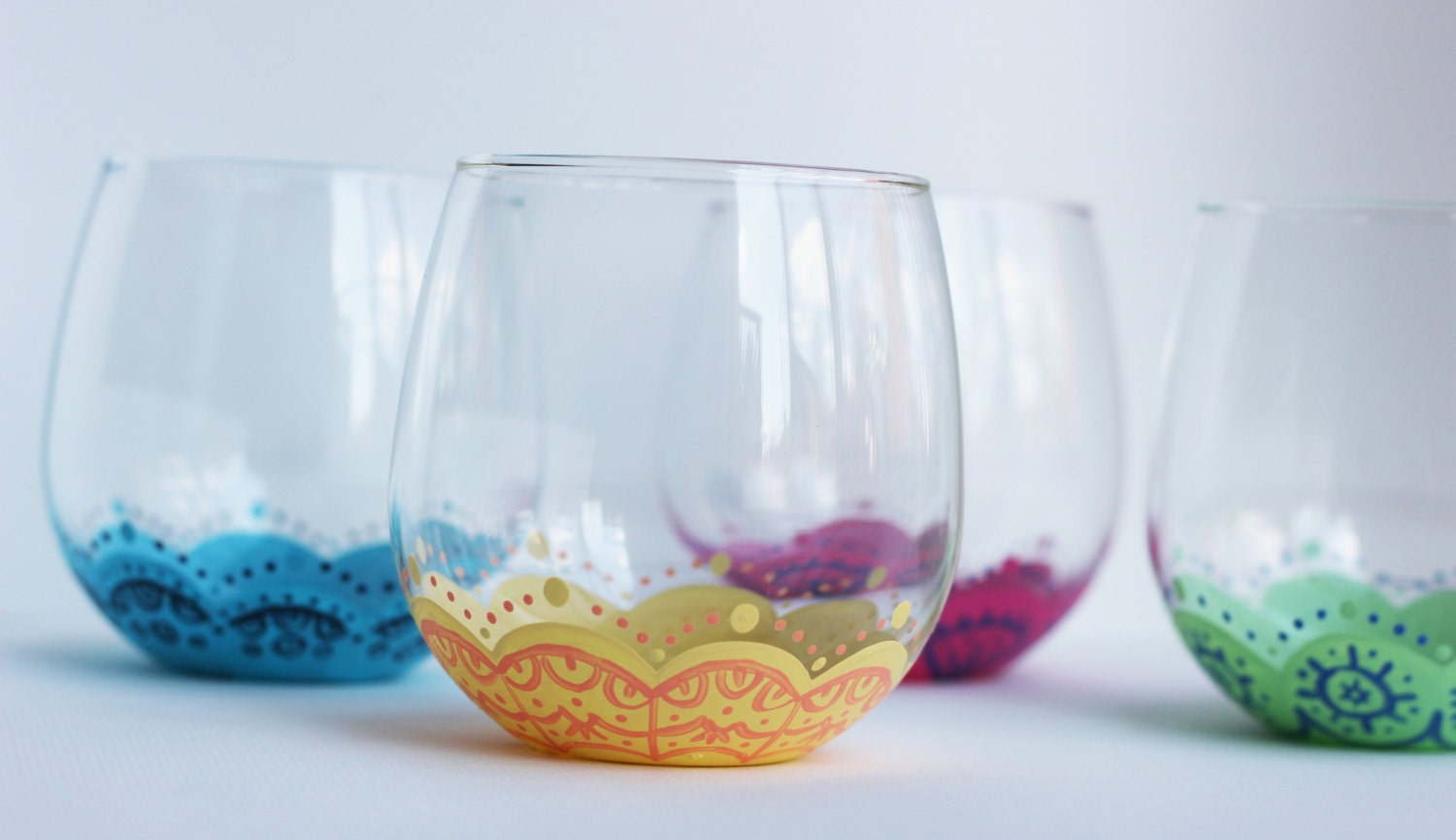 Fiesta Set Of 4 Colorful And Unique Stemless Wine Glasses