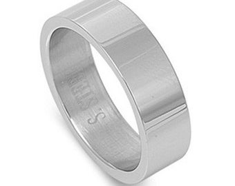 Personalized 7mm Stainless Steel Flat Band Ring - Free Engraving