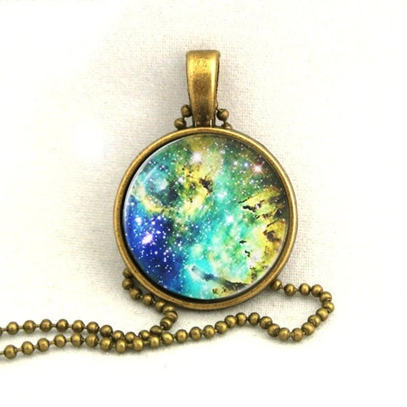 10% SALE Necklace Galaxy Blue Yellow Jewelry Universe Space Pendant Necklaces,Constellation,Gift For Her
