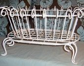 Vintage wrought Iron Plant Stand , Rusty Graden Decor, Chippy White, Plant Basket, White Scroll