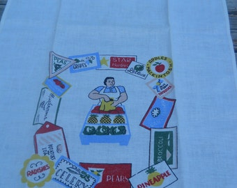 Vintage Kitchen Towel, Farmers Market Stand, Woman with Produce