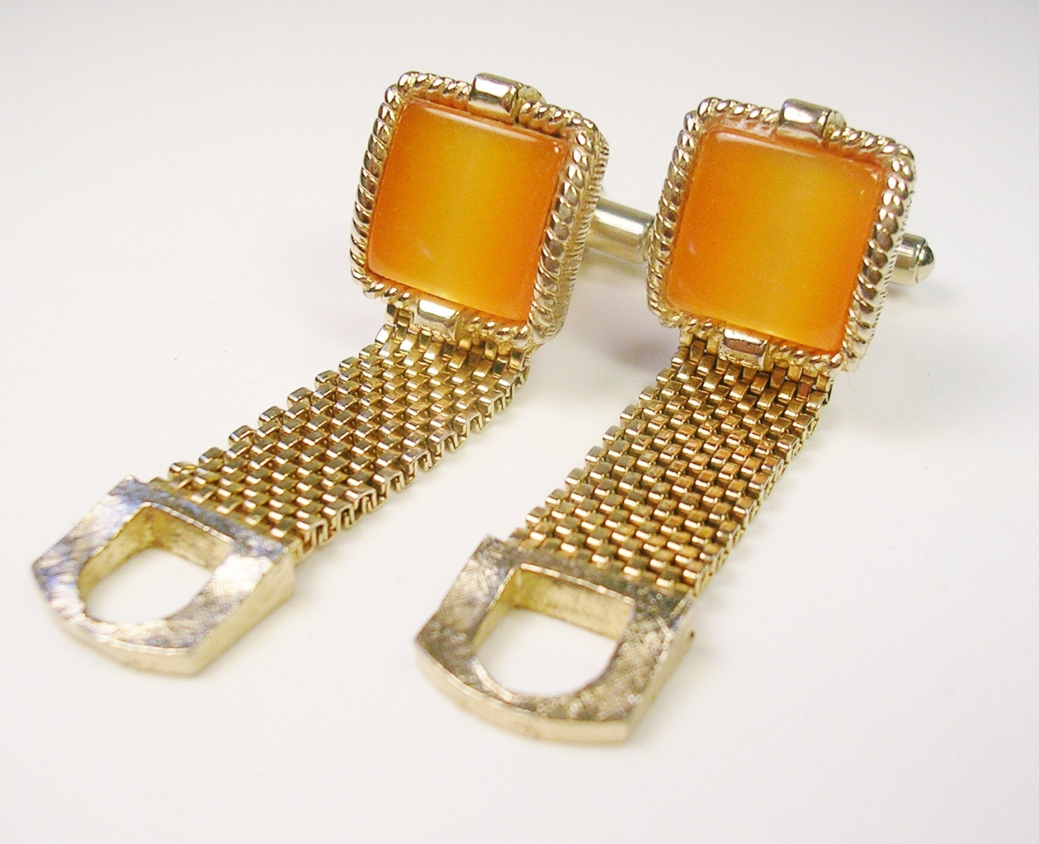 Vintage swank cufflinks gold tone mesh wrap orange for What is swank jewelry