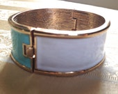 Turquoise and White Color Block Metal Bangle