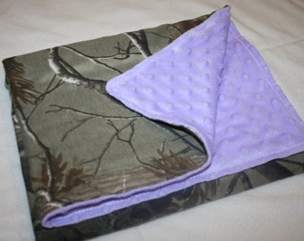 Camo and purple minky dot baby blanket. Light purple, lavander and realtree camo camouflage baby girl blankey